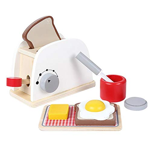 0Miaxudh Brotmaschine Spielzeug, Rollenspiel Küche Holz Simulation Toaster Brotbackautomat, Kinder Spiel Spielzeug