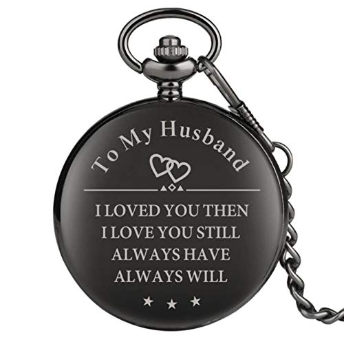 Customized Quartz Pocket Watch TO MY Husband I LOVE YOU Chain Clock to My Soulmate Best Friend Unique Watches