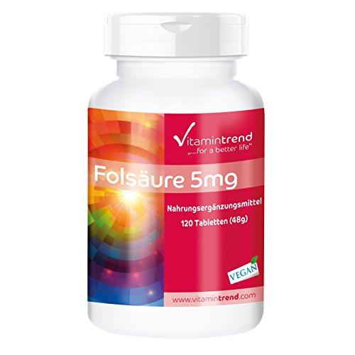 Folsäure 5mg - 120 vegane Tabletten - Vitamin B9 - Hochdosiert - Folic Acid - Hergestellt in Deutschland