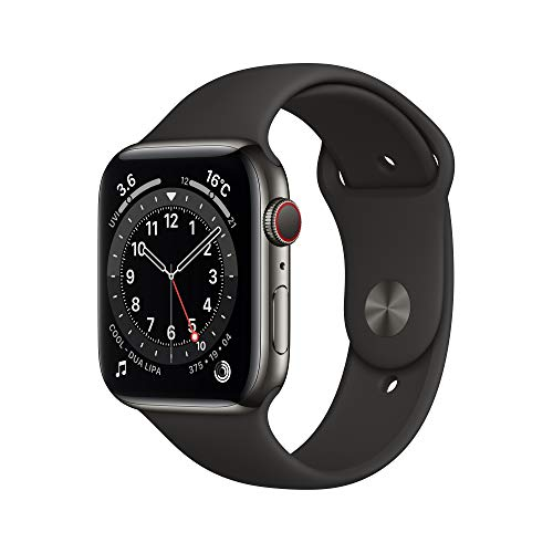 最新 AppleWatch Series 6(GPS + Cellularモデル)44mmグラファイトステンレススチールケースとブラックスポーツバンド