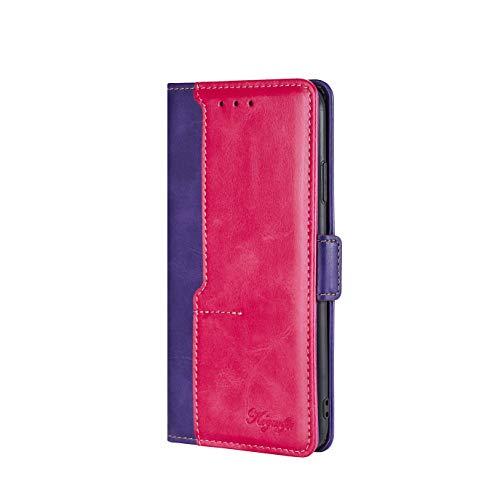 VGANA Funda Compatible con Moto Motorola G Stylus 5G, Cartera con Carcasa de Cuero de Primera Calidad con Tapa Colores Contraste. Morado + Rosa
