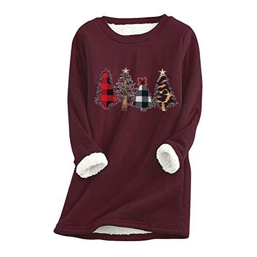 Pullover Damen Linkay Dickes Fleece Sweatshirt Winter Samt Warmes Unterwäsche-Top Frauen Plush Innenfutter Langarmshirt Pulli Tops Oberteile Bluse (D Wein,XL)