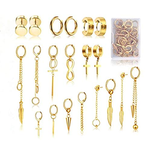 MYhose 20 Piezas de Acero Inoxidable Huggie Kit de Pendientes de aro con bisagras Kn Fashion Jewerly Fashion Pendientes de Oro