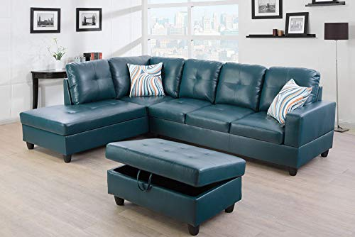 Lifestyle Furniture Left Facing 3PC Sectional Sofa Set,Faux Leather,Blue(LSF09518A)