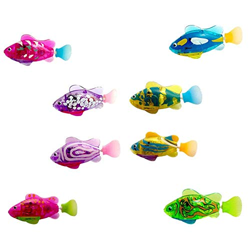 Swimming Robot Fish Activated in Water Electric Turbot Clownfish Battery Powered Robo Fish Toy Children Kids Robotic Gift Light Transparent Electric Fish (4 Pcs)