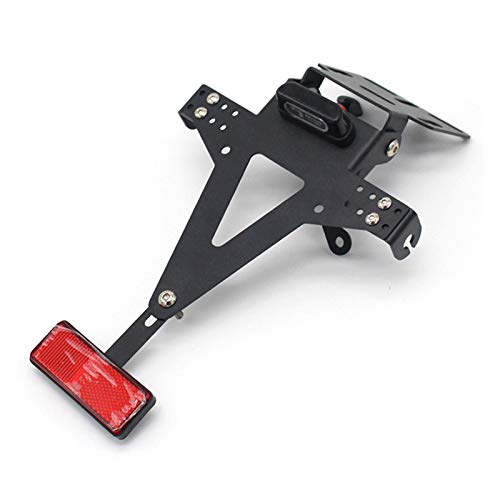 ZHANGWUNIU WUZ Store Motorcycle Adjustable Angle License Number Plate Frame Holder Bracket Fit For Yamaha Yzf R1 R3 R6 R15 R25 Fz6 Mt-07 Mt 07 (Color : Black)