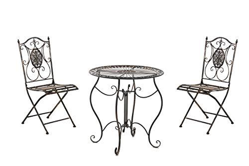 CLP Garten-Sitzgruppe Aldeano Aus Eisen I Pflegeleichtes Gartenmöbel-Set: 2 x Klappstuhl Und 1 x Tisch, Farbe:Bronze