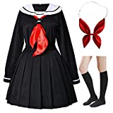 Japanese Anime School Girls Uniform Dress Sailor Suit Lolita Cosplay with red Bowtie Socks Set(S = Asia M)(SSF24)