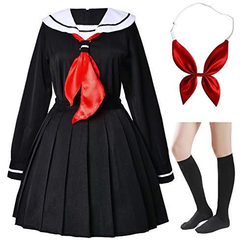 Japanese Anime School Girls Uniform Dress Sailor Suit Lolita Cosplay with red Bowtie Socks Set(2XL = Asia 3XL)(SSF24)