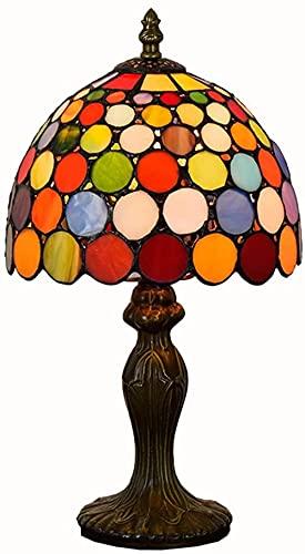 Lámpara del Banquero Luz de escritorio colorida vintage rústica con pantalla de bloque de vitrales y base de aluminio para estudio de dormitorio y villa