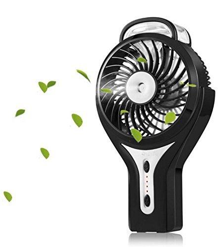 Emwel Mini USB Ventilator Tragbarer Kühlung Handventilator Ventilatoren mit Luftbefeuchter Standventilator Tischventilatoren Akku Faltbarer Fan für Laptop Desk Haus Büro Outdoor Reisen (Schwarz)