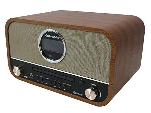 Roadstar DAB Nostalgie Retro-Radio mit Bluetooth und CD / MP3 Player im Holzgehäuse mit Weck-Funktion (USB, AUX-In, RDS), 15 Watt RMS, braun