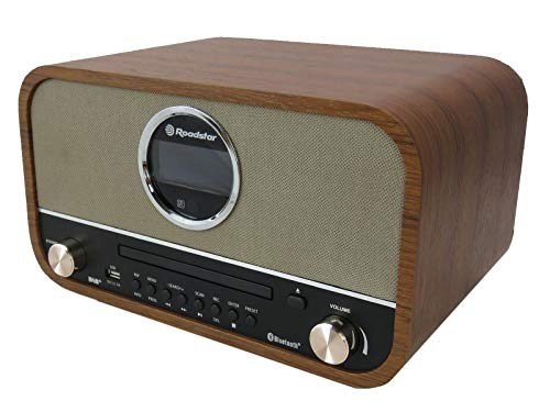 Roadstar DAB Nostalgie Retro Radio mit Bluetooth und CD MP3 Player im Holzgehäuse mit Weck Funktion (USB, AUX In, RDS), 15 Watt RMS, braun