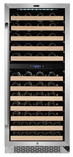 Whynter BWR-0922DZ 92 Built-in or Freestanding Stainless Steel Dual Zone Compressor Large Capacity Wine Refrigerator Rack for open bottles and LED display, Black