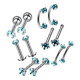 Harilla 12x Colores Circón Labio Uñas Ceja Nariz Anillo Aro Barras Cuerpo Piercing Joyería - Azul