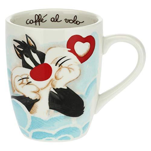 THUN - Frühstückstasse Katze Silvestro - Tasse für Tee, Kaffee, Tee, Milch und heiße Kokosnuss - Linie Titti und Silvestro, Warner Bros - Porzellan - 420 ml
