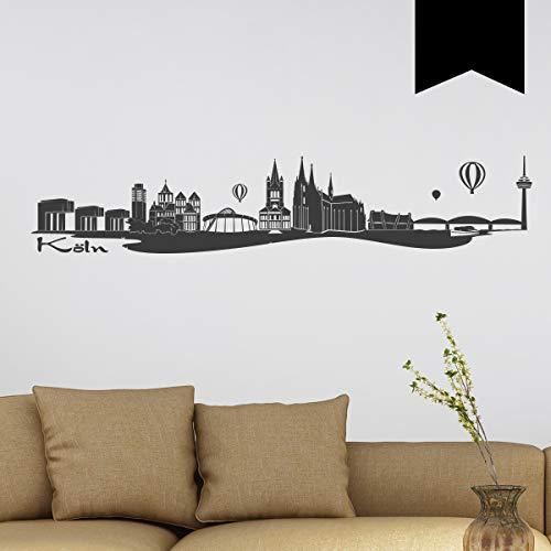 Wandkings Wandtattoo Skyline Köln (mit Sehenswürdigkeiten und Wahrzeichen der Stadt) 80 x 16 cm schwarz - erhältlich in 33 Farben