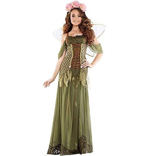 Fashion-Cos1 Green Elf Cosplay Kleid Forest Fairy Tinkerbell Kostüm Damen Halloween Kostüm Outfit Angel Performance Kostüm (Size : XL)