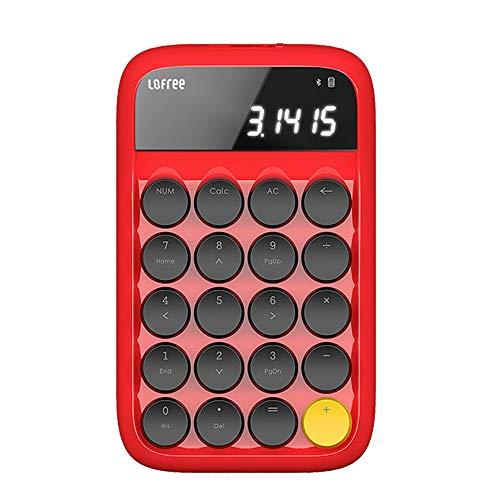 LofreeテンキーボードBluetoothワイヤレステンキーパッド数字キーボード電卓有線/無線人間工学設計計算機1000万回高耐久20キー電卓機能付持ち運び便利コンパクト小型Android/WIN/IOS対応(テンキーボード,レッド)