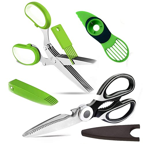Herb Scissors Poultry Shears Set - Multipurpose Heavy Duty Kitchen Shears 5 Blades Cover Cutting Food Pizza Salad Meat Chopper Dishwasher Safe 3 in 1 Avocado Slicer By RemyLife