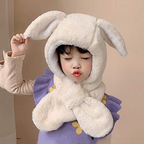 SPNEC Oídos de Conejo de Felpa Sombrero de Invierno para niña niña niño Bufanda Ajustable Gruesas Orejeras Grifo Proteger Cara Cuello cálido