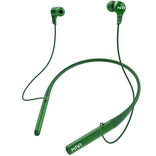 Mivi Collar 2B Wireless Earphones. Bluetooth Earphones with Fast Charging, 17hrs Playtime, Powerful Bass, HD Sound and Made in India - Green