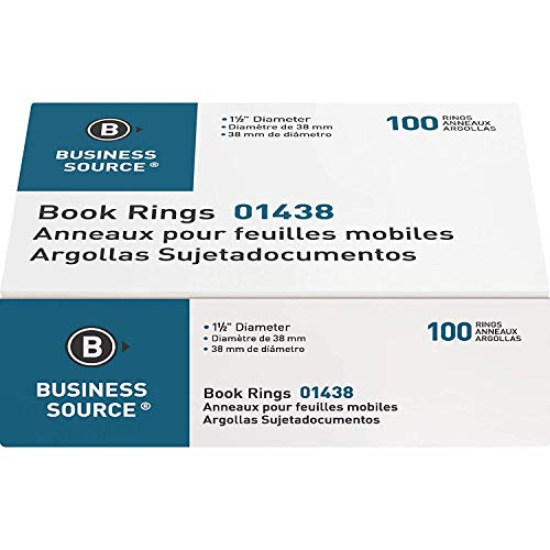 Business Source Standard Book Rings - 20 Pack
