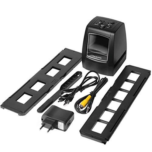 Escáner Digital, escáner de Alta resolución Convierte Digital USB Negativos Diapositivas Escaneo fotográfico Convertidor de película Digital portátil 2.36 Pulgadas LCD (Negro)