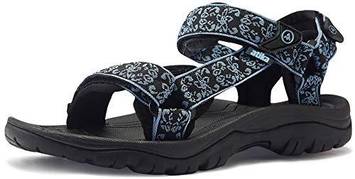 ATIKA Sandalias de senderismo para mujer con sistema de dedos cerrados, ligeras sandalias deportivas adecuadas para caminar, trailing, senderismo, zapatos de agua en verano, color Azul, talla 39 EU