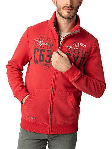 Camp David Herren Sweatjacke mit Label-Applikationen