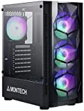Montech X1 Black - Compact ATX Mid Tower Case - High Airflow, Front Mesh Ventilation, Tempered Glass Side Panel, Pre-Installed 4 x 120mm Autoflow Rainbow LED Fans