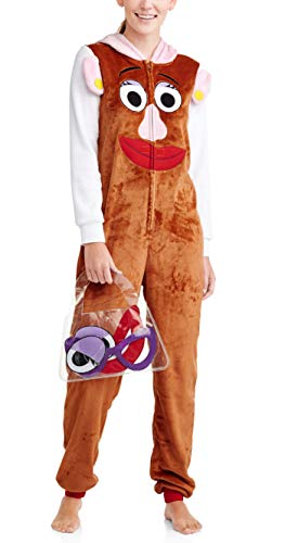 Disney Women's Toy Story Mrs. Potato Head Faux Fur Adult Costume Union Suit Pajama (Brown, X-Large)