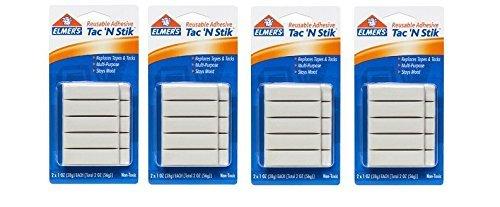 Elmer's Tac 'N Stik Reusable Adhesive, 2 Cards oer Set - 4 Sets Total
