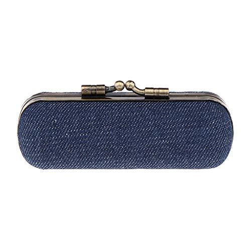 IPOTCH Etui à Rouge à Lèvres/Bijoux Boîte à Rouge à Lèvres avec Miroir Portable de Sac à Main de Femme Fille - Bleu foncé