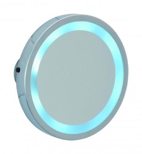 WENKO 3656450100 LED Leuchtspiegel Mosso, 3 Saugnäpfe, Spiegelfläche ø 11,5 cm 300 {a0dcd4e146c5cc412b553b2e6c5e906680e38781c630235bdc28b445ebab5a3d} Vergrößerung, Stahl, 15 x 15 x 2 cm, Chrom