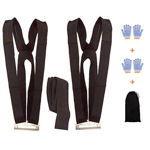 Correas para levantar y mover,sistema de movimiento para 2 personas con almohadilla de gomaespuma de 13 pies,mueve objetos con peso de hasta 880Lbs-guantes antideslizantes de obsequio(12cm ancho)