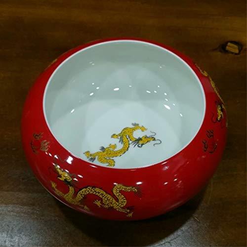 GYHJG Aschenbecher Keramik Rot Festlich Zuckerbecken Wohnzimmer Couchtisch Tee Waschtisch Kleinigkeiten Lagertank Huanglong 17X12X7,5Cm