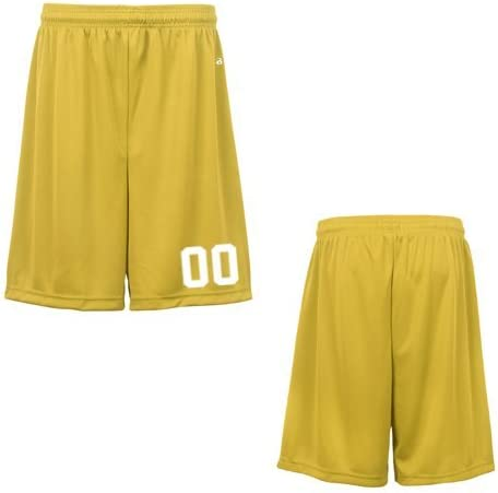 Gold Youth XS (Custom with Uniform #) Athletic Wicking Sports Shorts