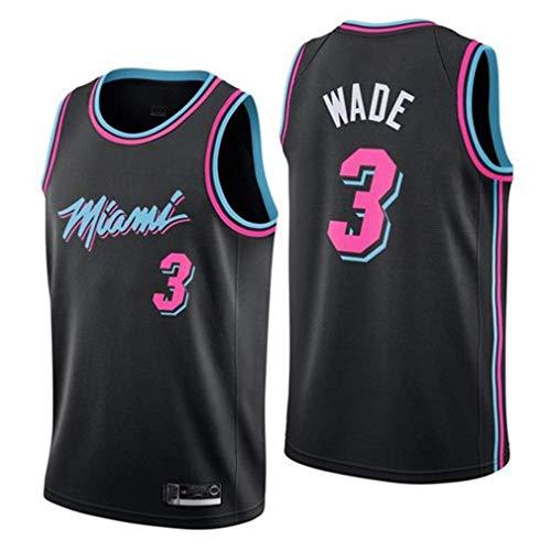 rzoizwko Herren & Damen Trikot – Miami Heat 3# Wade Retro atmungsaktiv bestickt Basketball Swingman Jersey