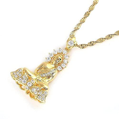 YZXYZH Collar Collar con Colgante de Buda Amitabha Tibetano Dorado, joyería de Cadena