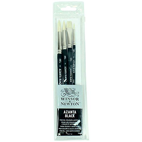 Winsor & Newton azanta Black Pennello per Olio e Acrilico Colore, Legno, Trasparente, Set: 4 Pinsel