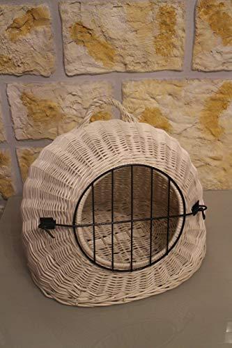 Marcus Katzentransportkorb aus Weide in weiß abnehmbares Metall-Gitter Weidenkorb Katzenkorb Tierkorb Käfig Transportkorb für Katzen Hund Katzenhöhle (ohne Kissen)
