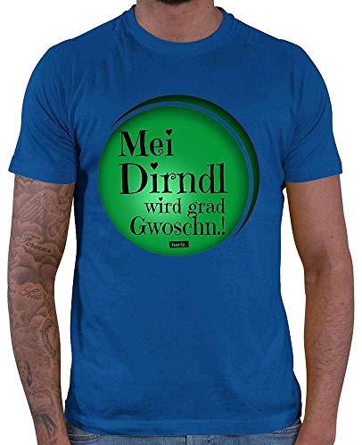 HARIZ Herren T-Shirt MEI Dirndl Wird Grad Gwoschn Oktoberfest Wiesn Herzl Tracht Dirndl Lederhosn Inkl. Geschenk Karte Royal Blau 5XL