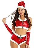 iEFiEL Costume da Babbo Natale Donna Sexy Lingerie Hot Vestito Natalizio Cosplay Halloween Party Festa Set 4 PCS Canotta + Cappuccio + Cintura + Mutande + Polsini S-XL Rosso M