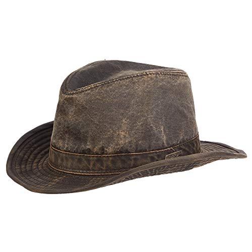 Dorfman Pacific Indiana Jones Herren Mütze aus verwitterter Baumwolle - Braun - Large