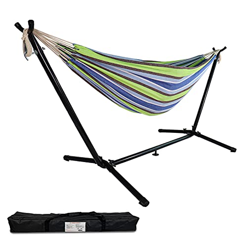 Highwild Double Hammock with Space Saving Steel Stand - Max 600 Lbs - 2 Person Adjustable Cotton Hammock Includes Portable Carrying Bag(Blue/Green)