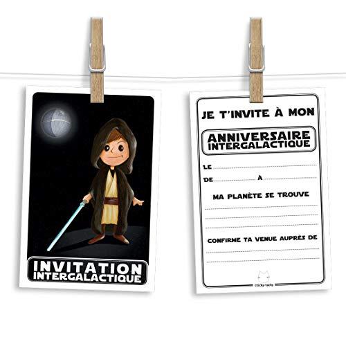 6 cartes et enveloppes invitation anniversaire | Anniversaire fille ou garçon | Thème Jedi inspiré de Star Wars