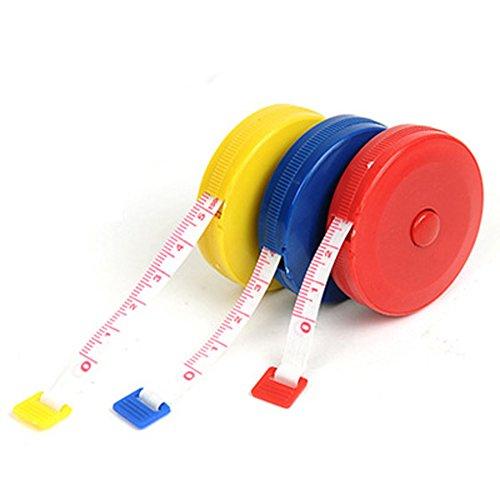 3pcs 1.5M 60pulgadas portátil suave cinta de medición regla de costura Tailor cinta métrica retráctil con cubierta de Plasitc con botones para ropa medir la altura de los niños