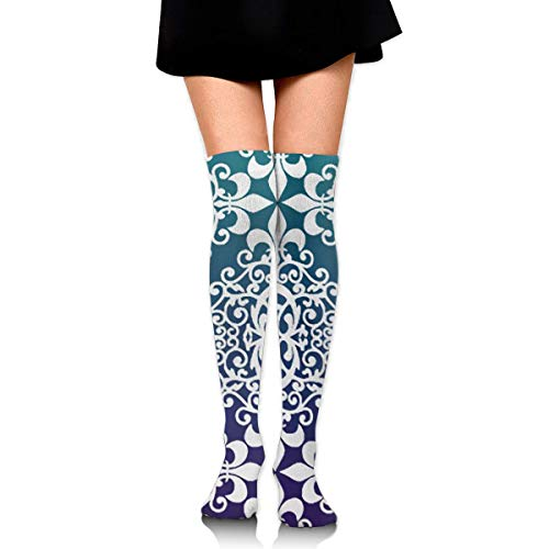 BINBIN WARDROBE Girls Purple And Teal Damask Over Knee Thigh High Socks, Sexy Compression Sock For Womens