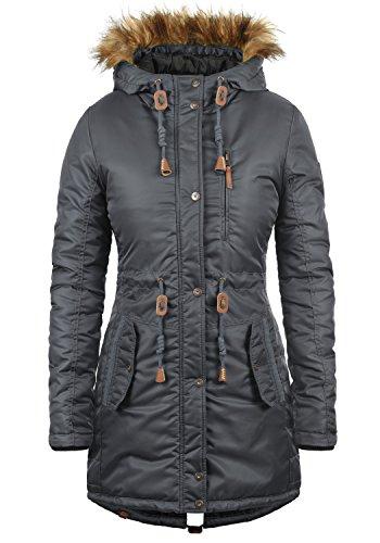 BlendShe EDA Parka Abrigo Chaqueta De Invierno con Capucha Efecto Pelo para Mujer con Capucha, tamaño:L, Color:Ebony Grey (75111)